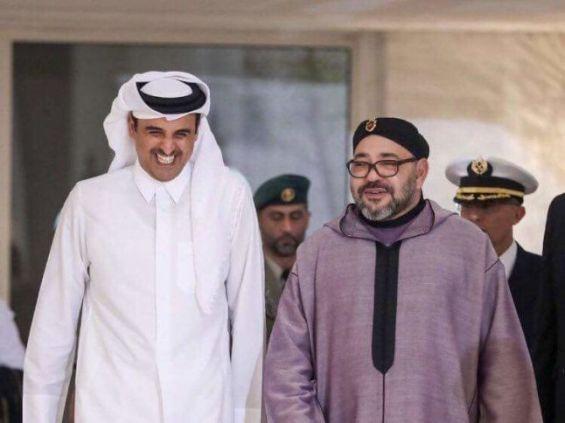Cheikh Tamim Ben Hamad Al Thani émir du Qatar en compagnie du roi Mohammed VI.  DR