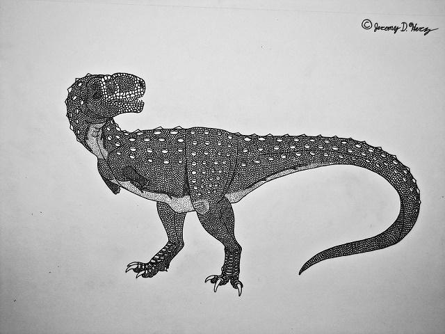 Dessin représentant le Chenanisaurus barbaricus. / Ph. Jeremy D Herz - Saberrex