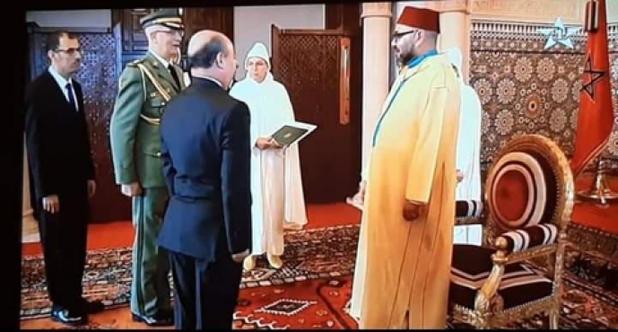 The Algerian ambassador received by King Mohammed VI to present his credentials. / DR