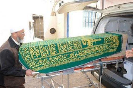 Le cercueil transportant le corps du jeune étudiant Ahmad. La photo a été prise par un autre étudiant .