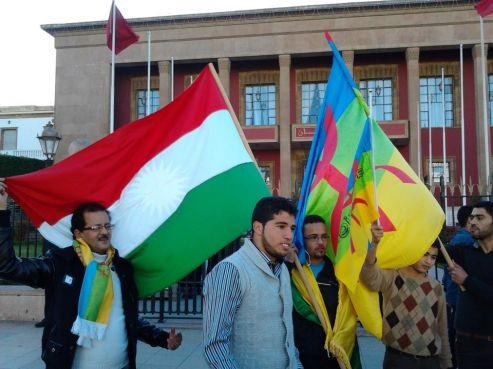 Le drapeau kurde et celui de l'Azawad ont été associés aux drapeaux amazighs.