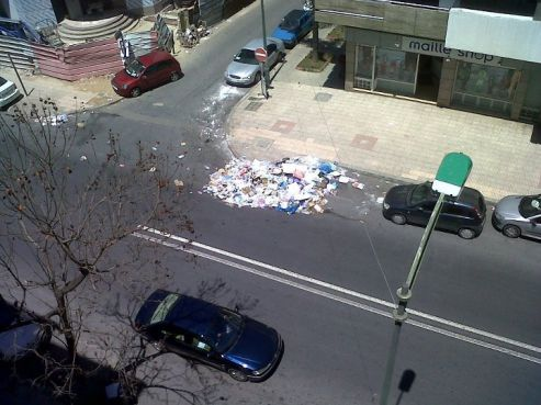 Poubelle en pleine rue à Rabat (Ph: groupe Facebook \