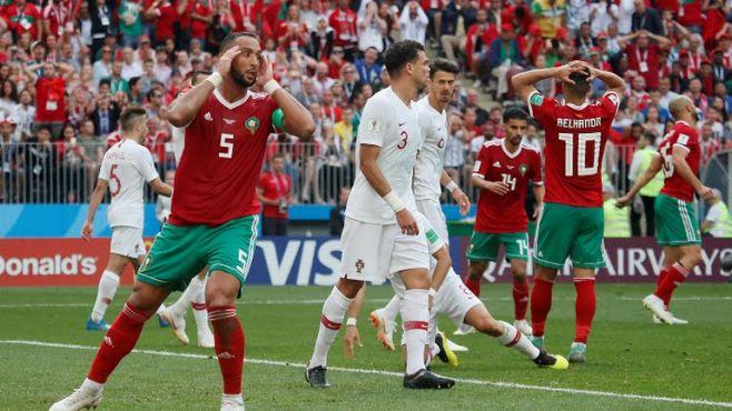 Les Lions de l'Atlas face aux Portugais. / Ph. Reuters