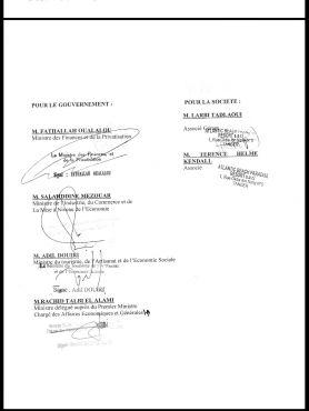 Une copie des signatures de ministres présentées aux clients en 2007.