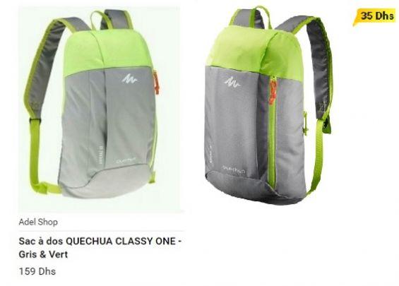 4b7e9fda0ea Ce sac à dos est vendu 35 dirhams sur Décathlon et 159 dirhams sur  Jumia.ma.   Photomontage Yabiladi.com