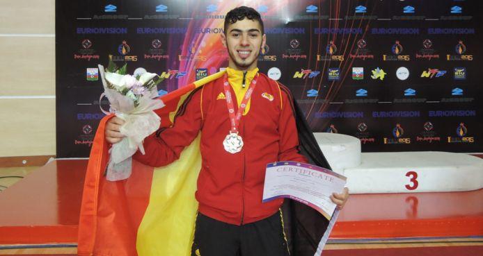 Jaouad Achab après son titre de Champion d'Europe à Bakou(Azerbaïdjan)