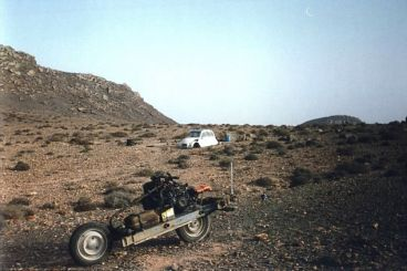 Stranded in the desert near Tan Tan, a French man turned his car into a motorcycle
