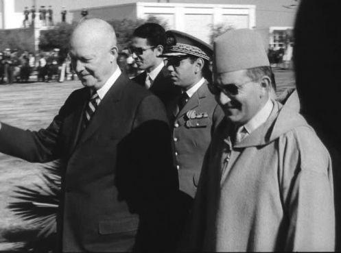 Le président Dwight Eisenhower reçu par feu le roi Mohammed V à Casablanca en 1959. / Ph. Frampool