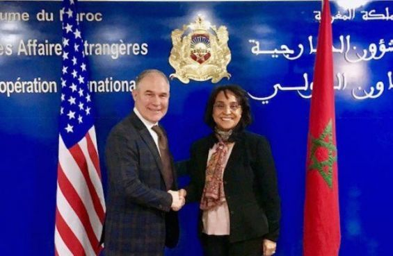 EPA's chief Scott Pruitt with Mounia Boucetta State Secretary for the Moroccan Foreign Ministry during a visit to Morocco in December 2017./Ph. EPA