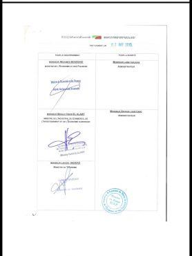 Une copie de l'avenant prorogatif de la convention signés, selon le promoteur, par les actuels ministres.