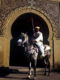 Cavalier devant une porte de Meknes alt=