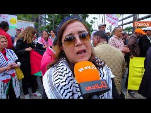 A sit-in held in front of the American consulate in Casablanca to support Palestine