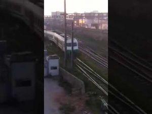 An ONCF train runs off its rails near Casa Port railway station