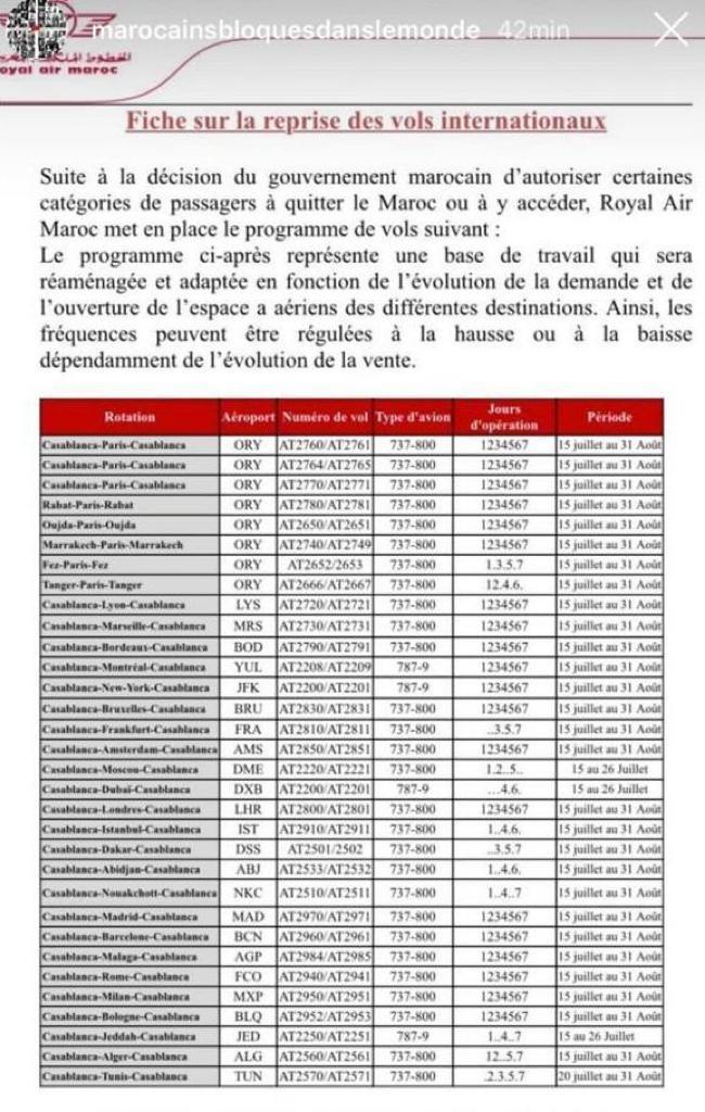 Programme provisoire de vols de la RAM soumis à la validation du ministère des Affaires étrangères.