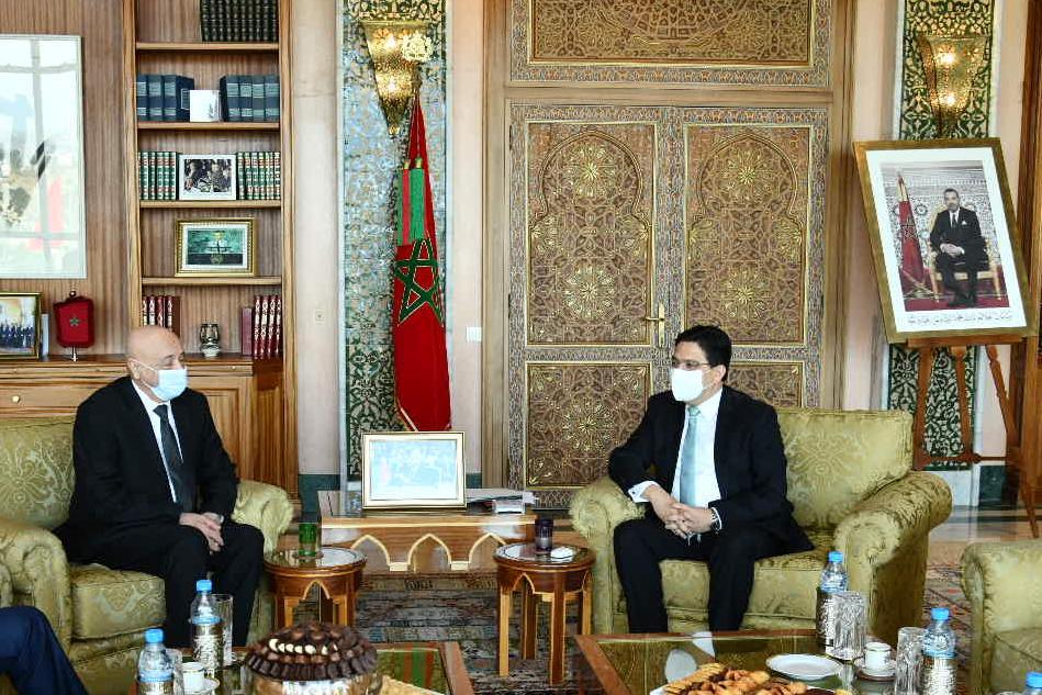 Aguila Saleh avec Nasser Bourita / Ph. MAECI
