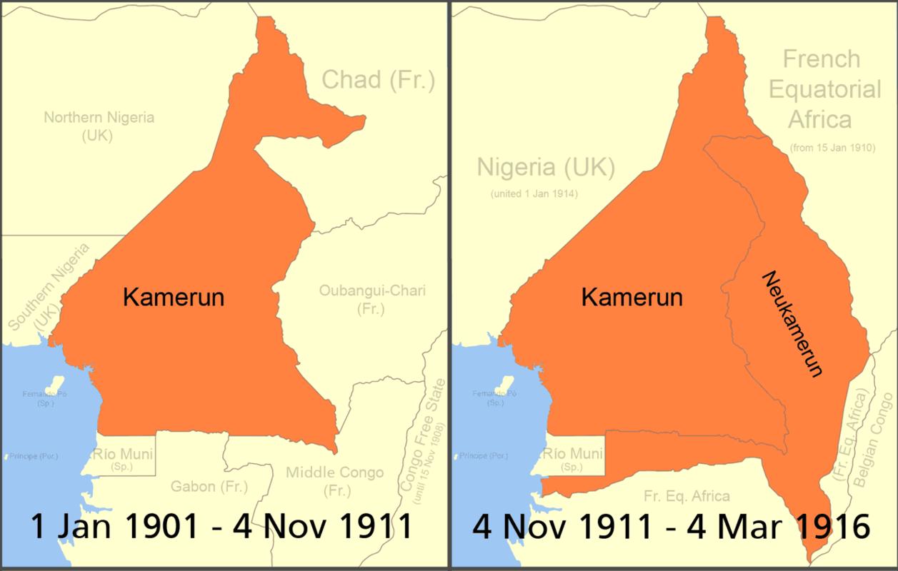 Le Cameroun allemand, avant et après le coup d'Agadir. / Ph. wikipedia