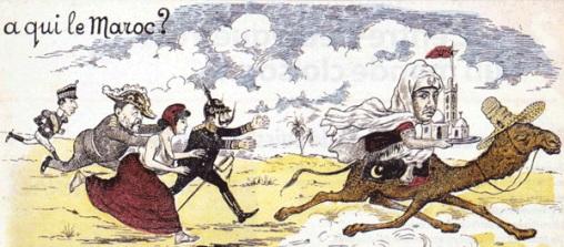 Le Maroc convoité. De g. à dr. : Alphonse XIII d'Espagne, Edouard VII d'Angleterre, Marianne de France, Guillaume II d'Allemagne, le sultan du Maroc. / Gravure de 1903 - Alternative Libertaire
