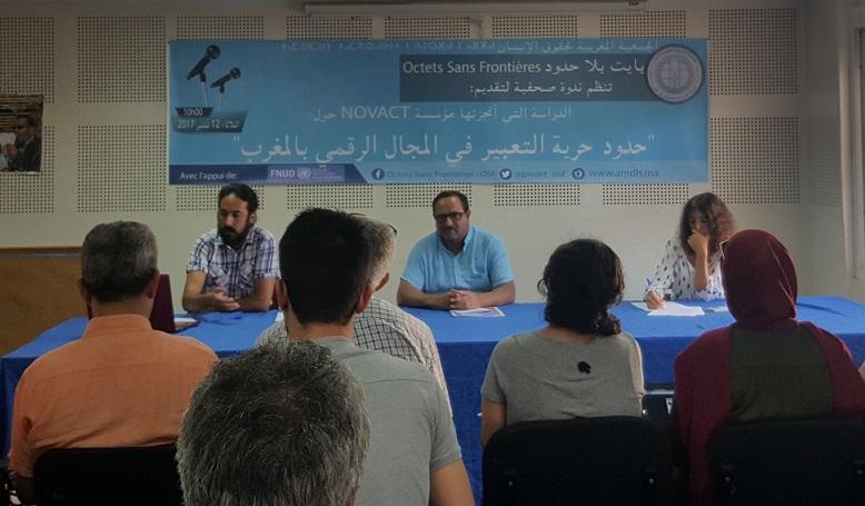Ahmed El Hayej, président de l'AMDH en compagnie de Laurence Thieux, mardi 12 septembre 2017 à Rabat. / Ph. DR
