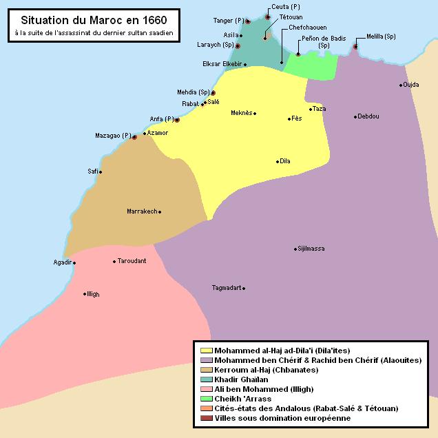 Etat de morcellement du Maroc après l'assassinat du dernier sultan saadien. / Ph. DR