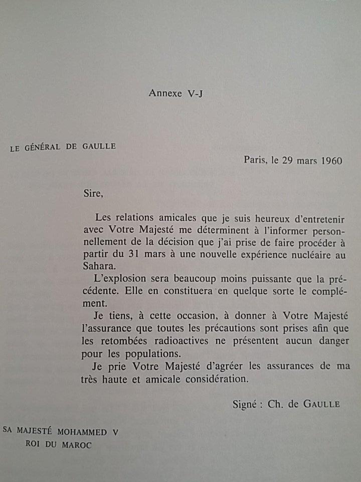Reproduction de la lettre de De Gaulle à Mohammed V / Ph. Twitter