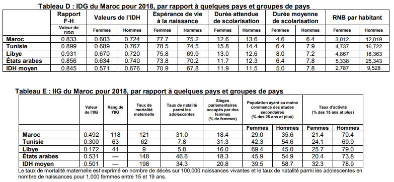 Les IDG et IIG du Maroc en 2018. / PNUD