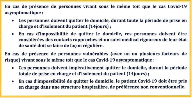 Covid-19: les cas asymptomatiques seront traités à domicile
