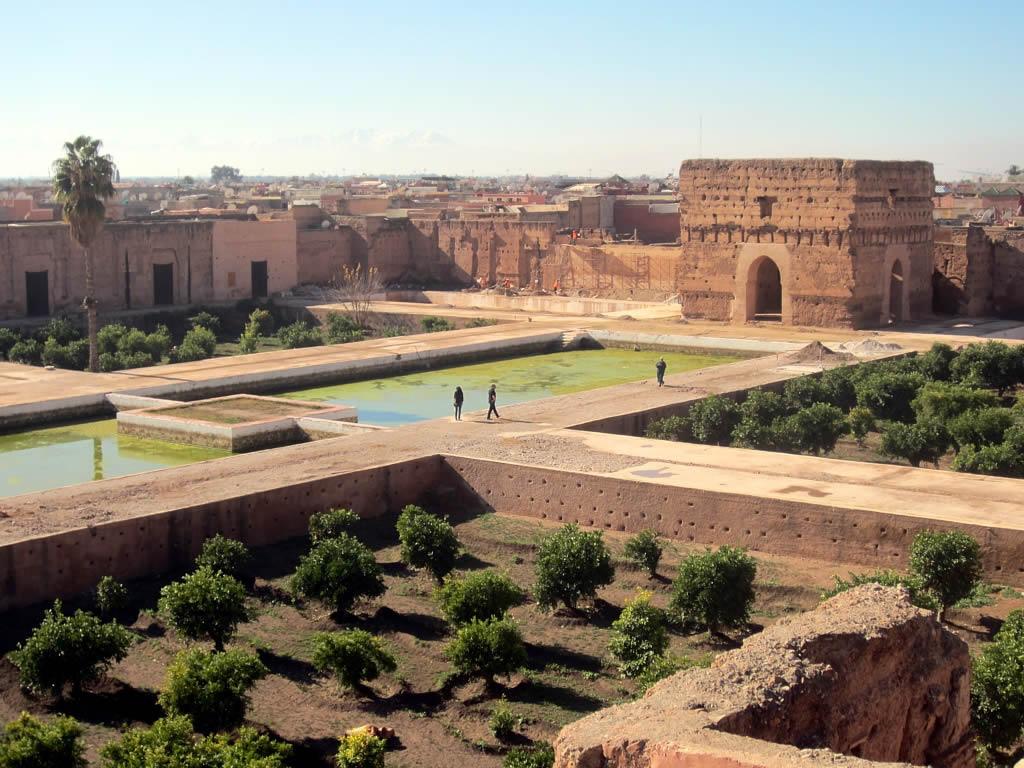Aperçu de l'un des bassins du Palais El Badi. / Ph. DR