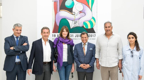 Nicholas Sarkozy and wife Carla Bruni at Mohammed VI Museum of Modern and Contemporary Art./Ph. Nationa Foundation of Museums